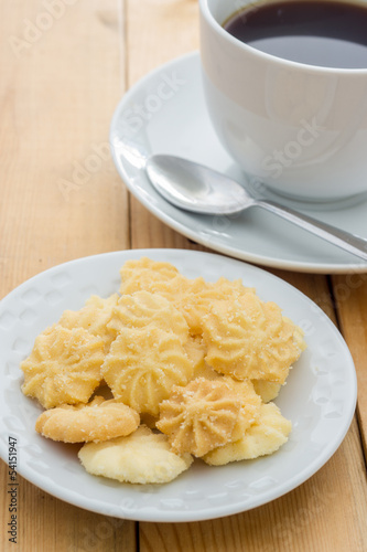 Butter Cookies with black coffee