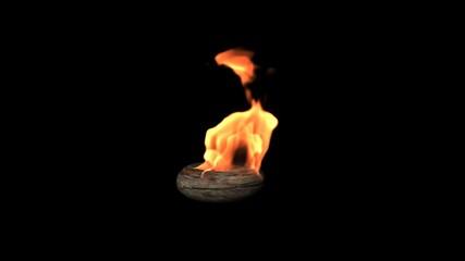 Burning Flame Fireplace