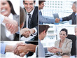 Collage of various pictures showing business people