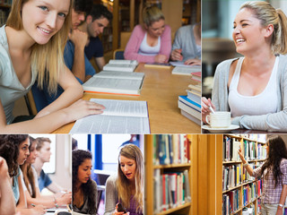 Collage of students in the library