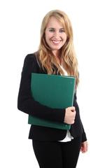 Beautiful businesswoman posing and holding a folder