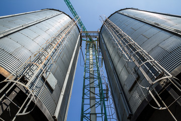 Two metal silo agriculure granary