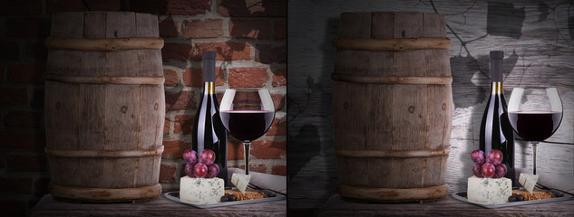 grapes on a barrel with corkscrew, wine and cheese