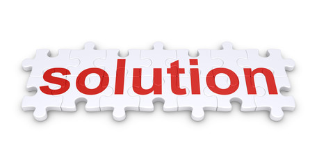 Solution word made of puzzle pieces