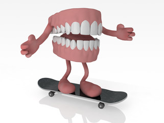 open denture with arms and legs on skateboard
