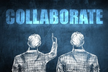 Two successful businessman showing collaborate, business concept