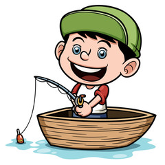 Vector illustration of Boy fishing in a boat