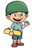Vector illustration of Boy holding Skateboard