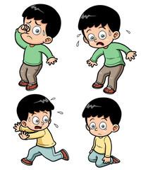 Vector illustration of boy expression set