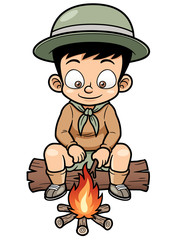 Vector illustration of Boy camping