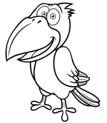 Vector illustration of Cartoon crow - Coloring book