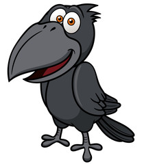 Vector illustration of Cartoon crow