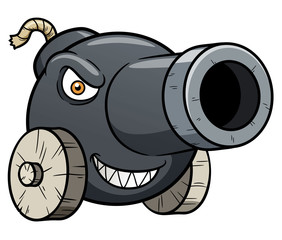 Vector illustration of cannon cartoon