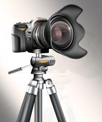 Spiegelreflexkamera auf Stativ