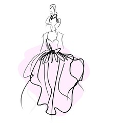 Concept bride women in wedding dress, fashion sketch