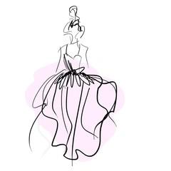 Concept bride women in wedding dress, fashion sketch
