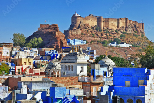 Jodhpur Rajasthan, view with Mehrangharh fort
