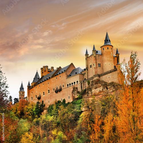 Fotobehang Madrid sunset over Alcazar castle, Spain, Segovia