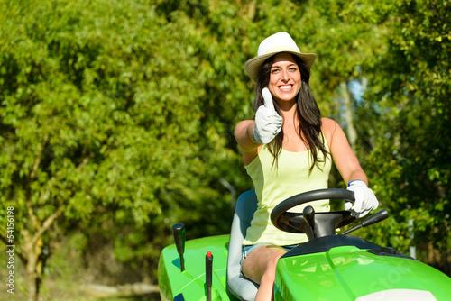 Woman success in field garden job