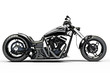 Custom black motorcycle side view on a white background - 54157369