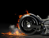 Custom black motorcycle burnout. Room for text or copyspace
