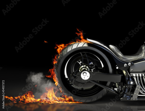 Fotobehang Motorfiets Custom black motorcycle burnout. Room for text or copyspace