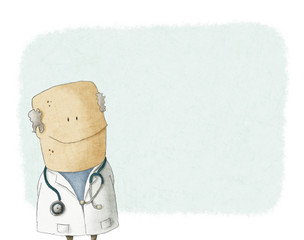 Cartoon doctor on a blank backgroung