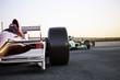 Leinwandbild Motiv Race car leading the pack, room for text or copy space