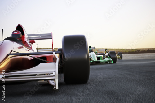 Fototapeta Race car leading the pack, room for text or copy space