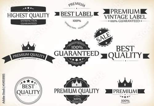 Satisfaction Guarantee Label and Vintage Premium Quality set