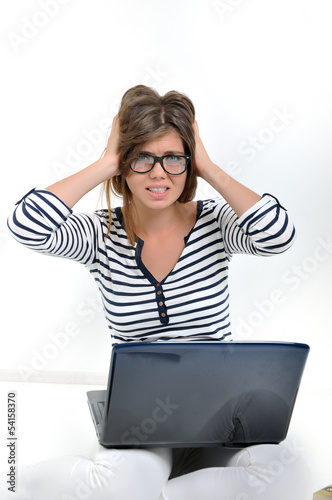 female stressed with computer