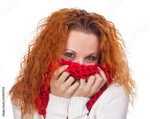 young red haired woman with scarf