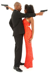 Attractive Black American Couple with Handguns