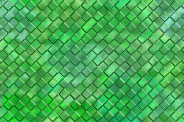 Graphic design abstract background of green emboss square blocks