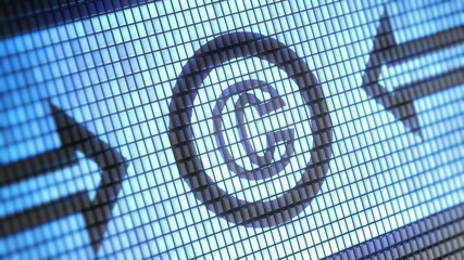 copyright icon on screen. Looping.