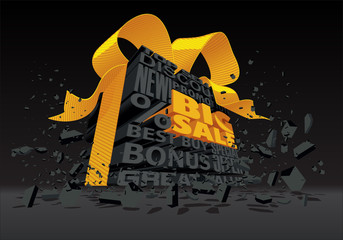 Big Sale - 3d Black Text - Vector Illustration