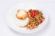Stir-fried ground chicken with chilli basil sauce