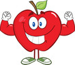 Apple Cartoon Character With Muscle Arms