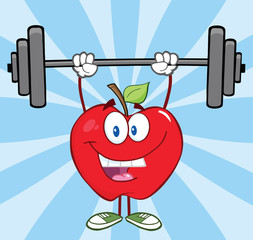 Smiling Apple Cartoon Character Lifting Weights