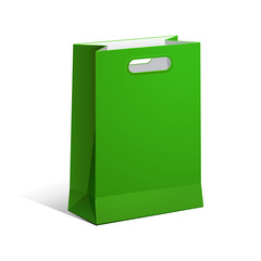 Carrier Paper Bag Green Empty