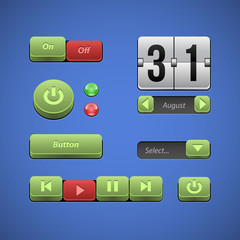 Raised Buttons Green And Red UI Controls Web Elements
