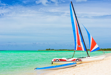 Catamaran at a tropical beach in Cuba