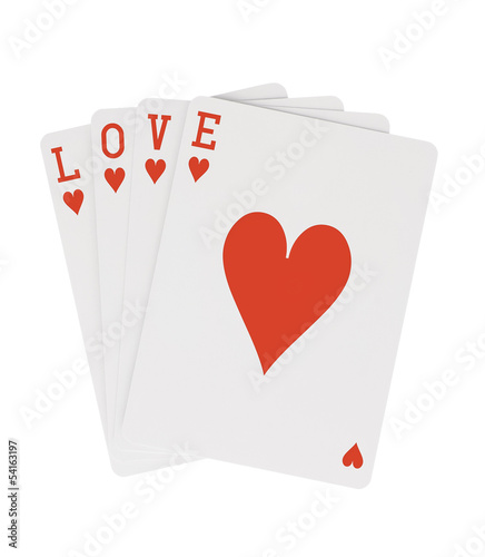 Word LOVE Playing Cards Hearts with Clipping Path