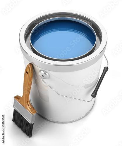 Paint can and brush isolated