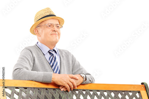 Senior smiling man on a wooden bench posing