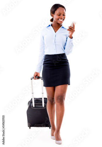 Business woman doing check-in online