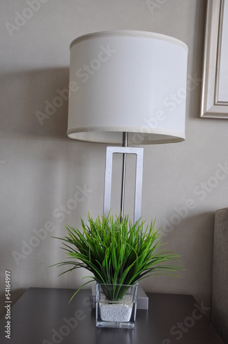 Table lamp and synthetic grass