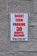 Short term parking signage