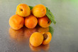 Apricots on metal background