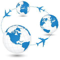 Air Craft Shipping Around the World for Transportation Concept.